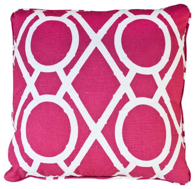 Stuart Lawrence Bamboo Raspberry Throw Pillow contemporary-decorative-pillows