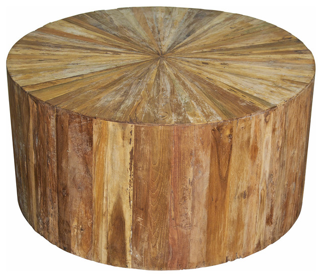 Rustic Lodge Teak Wood Round Coffee Table Rustic Coffee Tables