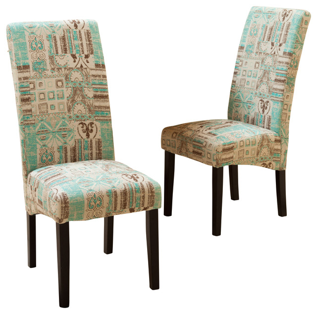 India Geometric Fabric Dining Chairs Set Of 2 Teal