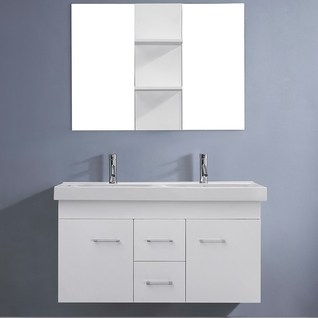 Virtu USA Opal 48 Inch White Double Sink Vanity Set Contemporary Bathroom