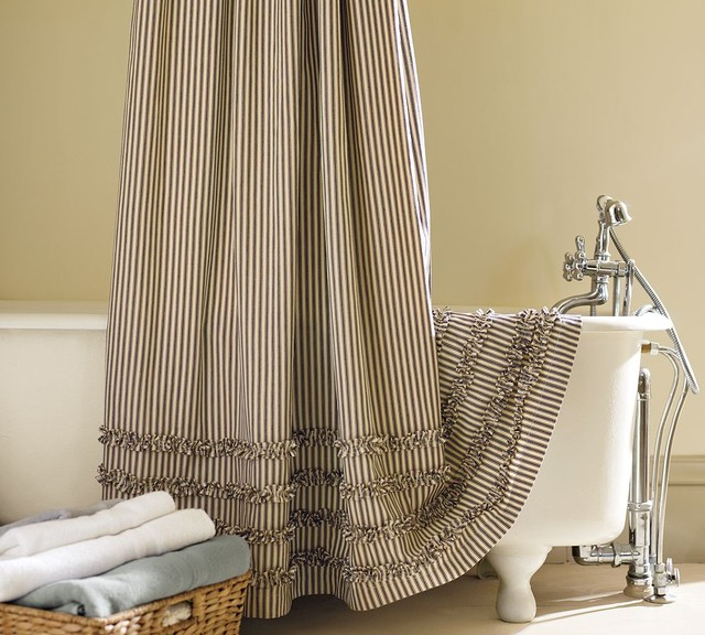 Vintage Linen Shower Curtain Ticking stripe ruffled shower