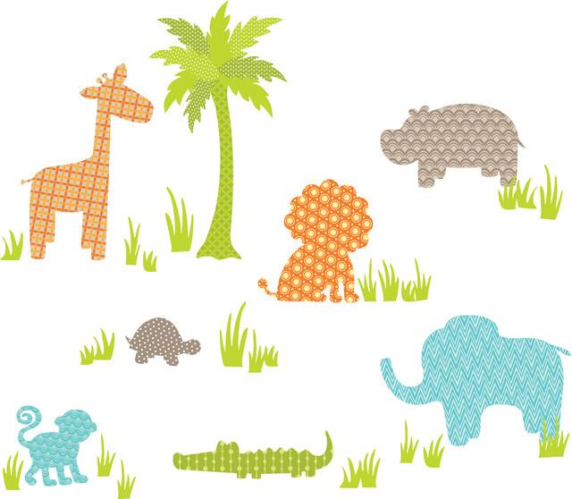 Jungle Friends Wall Art Decal Kit contemporary-kids-decor