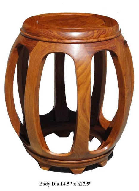 Chinese Yellow Huali Rosewood Barrel Round Stool asian-furniture