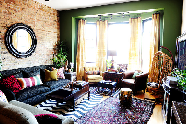 Eclectic With Global Influence Eclectic Living Room Chicago By SuzAnn