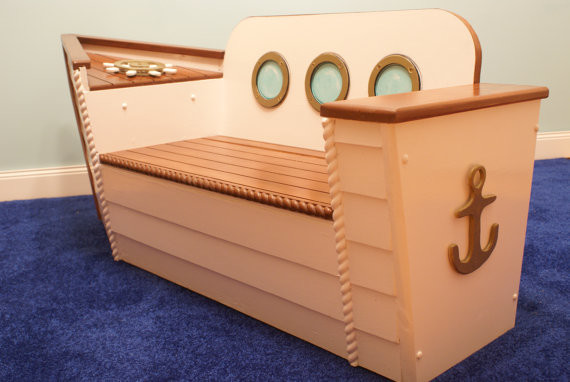 Nautical Toy Box Bench By Adamz Originals Beach Style