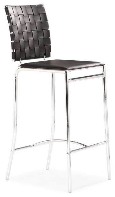 Zuo Criss Cross Counter Stool in Black [Set of 2] modern-bar-stools-and-counter-stools