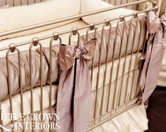 Little Crown Interiors - Orchid Lilac Silk Crib Bedding - Orchid Lilac Silk Crib Bedding