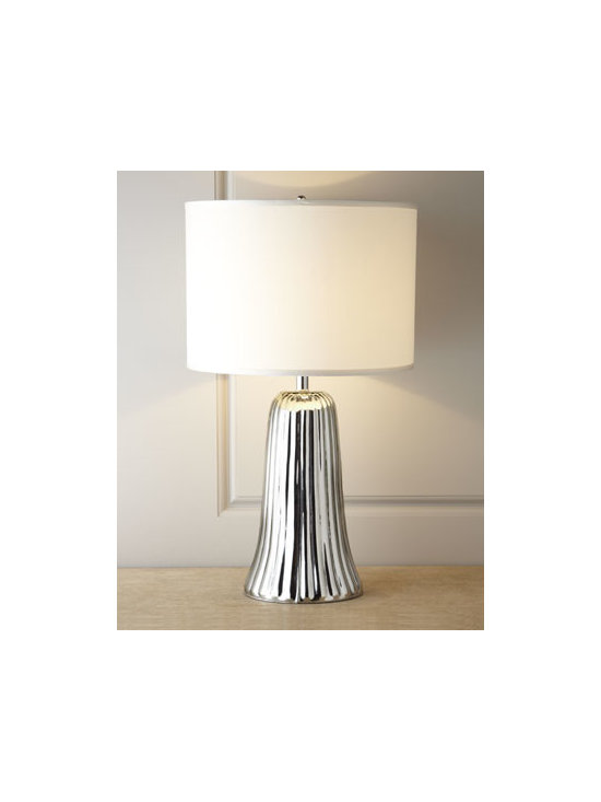 "Jamie Young - Jamie Young ""Waterfall"" Table Lamp - Exclusively ours. Elegant mercury glass table lamp evokes thoughts of Alpine waterfalls in winter—ephemeral and glinting, frozen in time. Handcrafted of glass with a ""mercury"" finish. Silk shade. Uses one 150-watt bulb. 18""Dia. x 29.5""T. Imp..."
