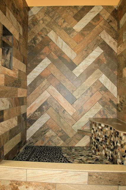 In-Store Rustic Slate Shower - Rustic - indianapolis - by Carpets Plus ...