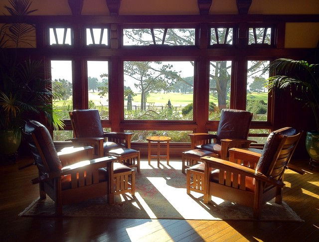 Stickley furniture in the lodge at torrey pines craftsman living room san diego by for Craftsman living room furniture