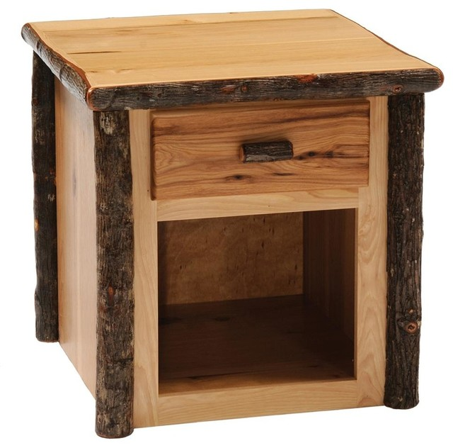Hickory 1 Drawer Log End Table Rustic Maple Contemporary Side Tables And End Tables By