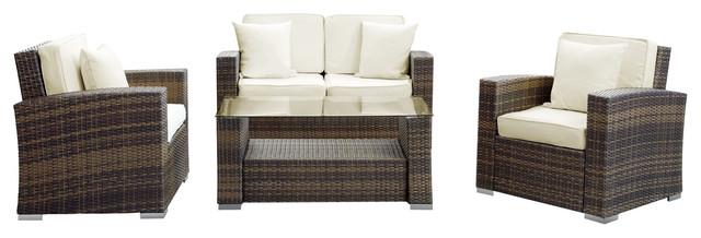 Carmel Outdoor Wicker Patio 4-Piece Sofa Set in Brown with White Pillows tropical-outdoor-sofas