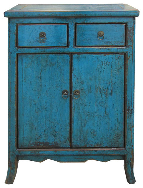 Nightstand Blue Chinese Ming Style End Table Side Cabinet ...
