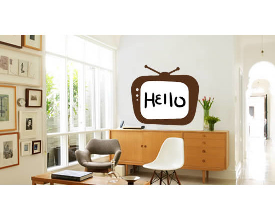 Writable wall decals - Say hello to the world! Our TV whiteboard wall decal is the perfect combination between a wall decal and a whiteboard - write on it with dry erase markers as many times as you wish. This wall decal is fully removable!
