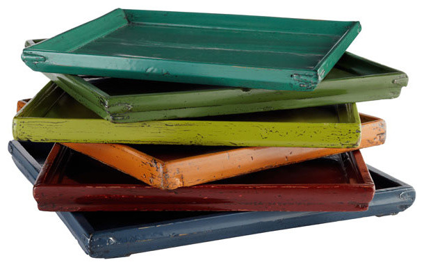 Colorful Wooden Tray traditional-serving-dishes-and-platters