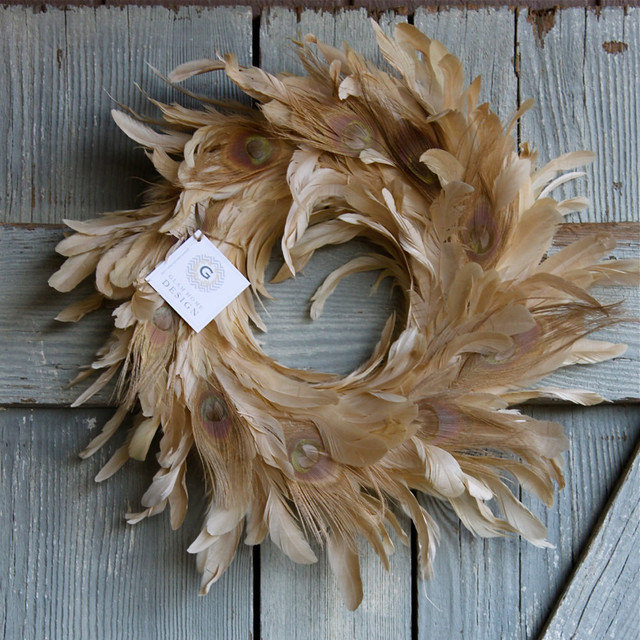 "17"" Cream Bleached Peacock Feather Wreath by Glam Home Design eclectic-wreaths-and-garlands"