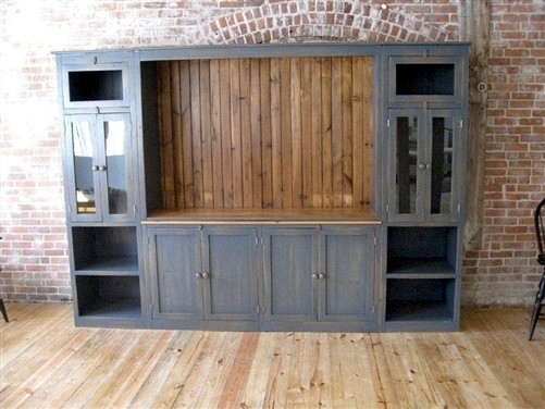Black Large Barn Wood Media Cabinet - Farmhouse - Media Cabinets - boston - by ECustomFinishes