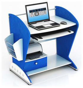 Techni Mobili Bristol Teen Computer Desk, Blue And White contemporary-desks