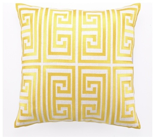 Modern Embroidered Pillow : Greek Key Embroidered Pillow, Acid Yellow - Modern - Decorative Pillows - by Burke Decor