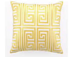 Greek Key Embroidered Pillow, Acid Yellow modern pillows