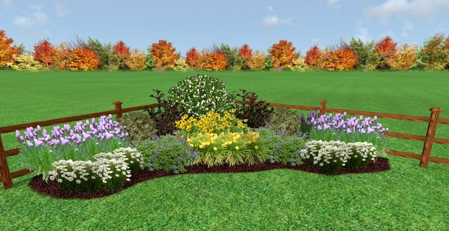 Sunny corner garden design traditional rendering for Sunny landscape designs