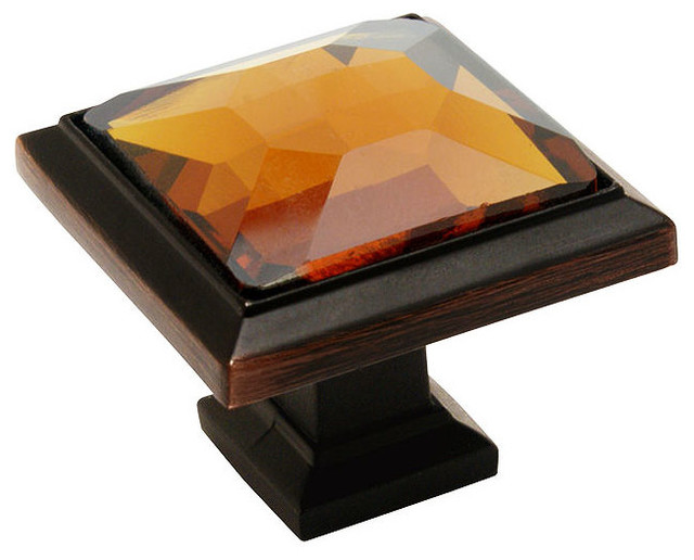 Cosmas Oil-Rubbed-Bronze and Amber Glass Square Cabinet Knob - Traditional - Cabinet And Drawer ...