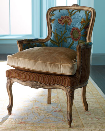 """Old Hickory Tannery - """"Darra"""" Teal Chair traditional-armchairs"""