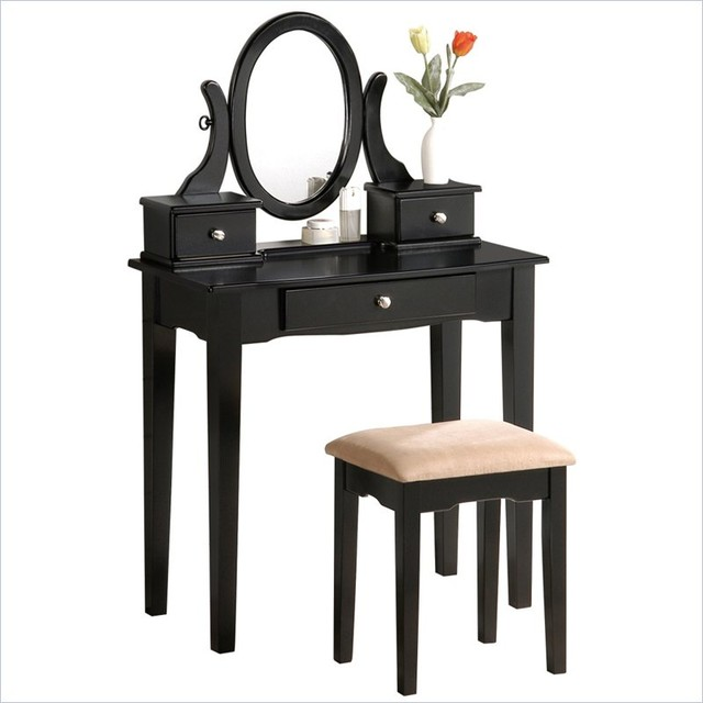 Poundex bobkona abana vanity set with stool in black contemporary desks and hutches other - Black and white vanity stool ...