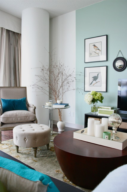 Pale Turquoise And Linen Living Room Contemporary