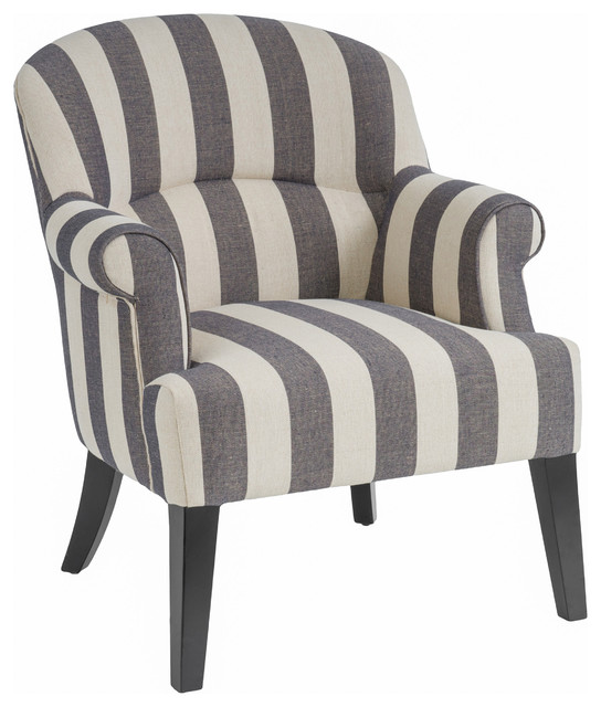 Drew Dark Blue Stripe Club Chair Contemporary