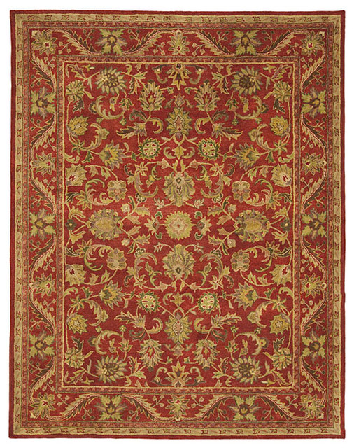Tufted Heirloom Red Wool Rug Traditional Rugs By