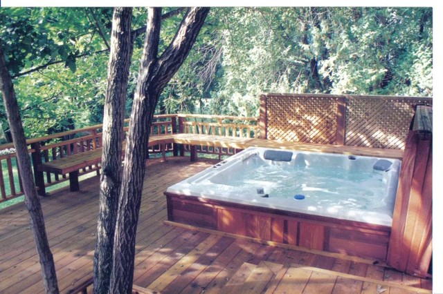 Hot tub in deck traditional for Hot tub deck plans