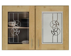 Carved and Etched Glass Art - Modern Scroll 284 Cabinet Glass