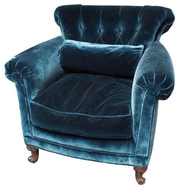 Peacock Blue Silk Velvet Club Chair $1 650 Est Retail