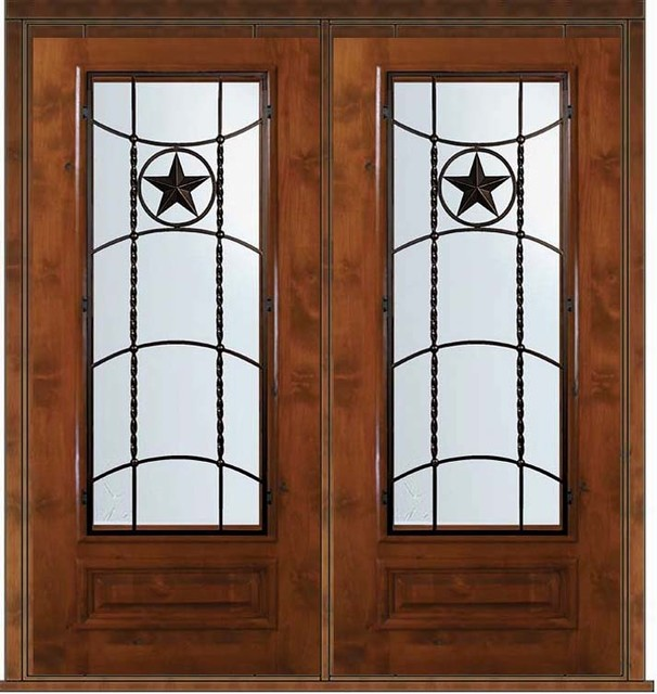 Pre hung double door 80 wood alder texan texas star 3 4 for Pre hung doors