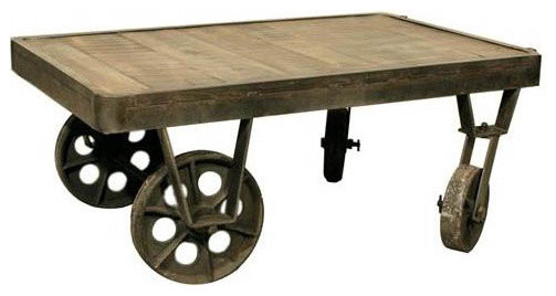 Shoreditch Industrial Factory Cart Coffee Table eclectic coffee tables