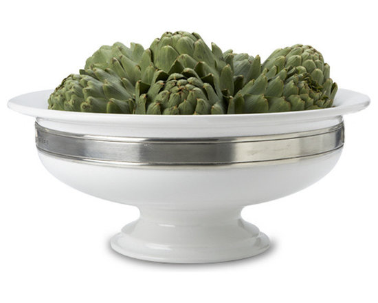 Match - Match Convivio Round Centerpiece - This elegant centerpiece from Match can be filled with fresh fruit or flowers to display on any table, Features a combination of pewter and porcelain.