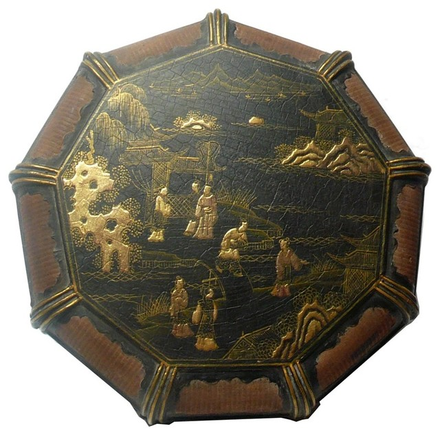 Chinese  Rattan Lacquer People Scenery Box rustic-decorative-boxes