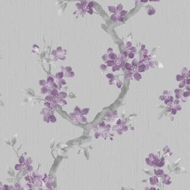 Mercutio Plum/Grey Wallpaper contemporary-wallpaper