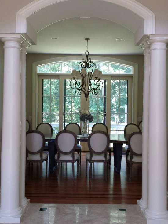 Connecticut Classic - View of the Dining Table with the client's selection of chairs in this stunning space.