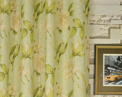 "84"" L Printed Springtime Grommet Linen Window Curtains asian-curtains"