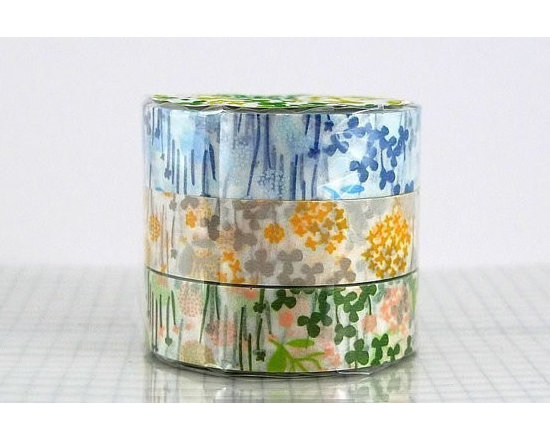 Floral Japanese Washi Tapes, Little Garden Pattern by Pretty Tape, Set of 3 -