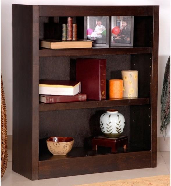 Concepts in Wood Espresso MI3036-E Single Bookcase Dark Brown - MI3036-E contemporary-bookcases
