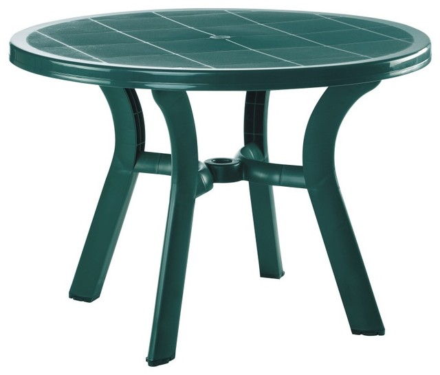 Truva Resin Round Dining Table 42 Inch Green Set Of 1 Contemporary Tables By