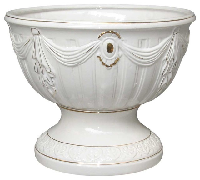 Planters White/Gold Ceramic Vase Planter 10 1/2 H 20 Dia'' - Traditional - Outdoor Pots And ...