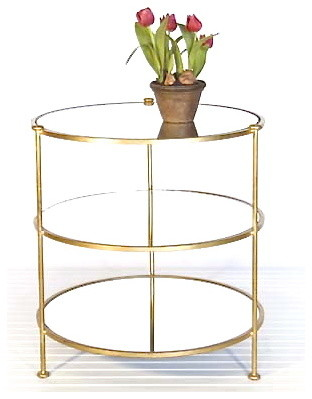 Worlds Away Furniture Worlds Away 3-Tier Gold Leafed Table  1 to 2 week free shi mediterranean-side-tables-and-end-tables