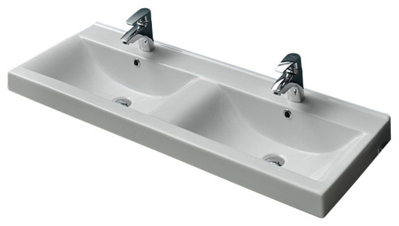 47 Inch Ceramic Double Bathroom Sink