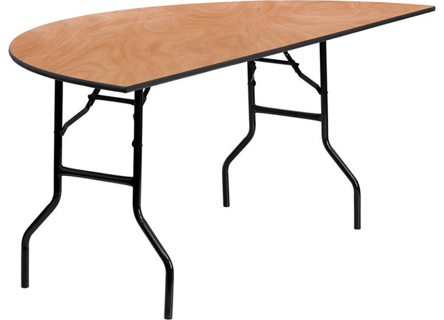 72 39 39 Half Round Wood Folding Banquet Table Contemporary Dining Tables