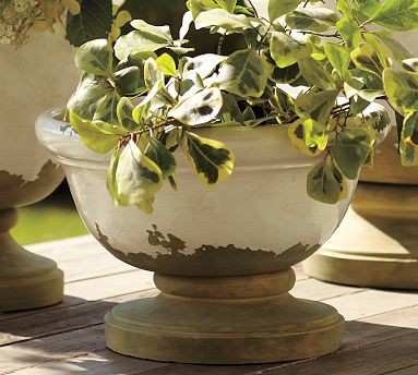 Tuscan Pedestal Planter Small White Traditional