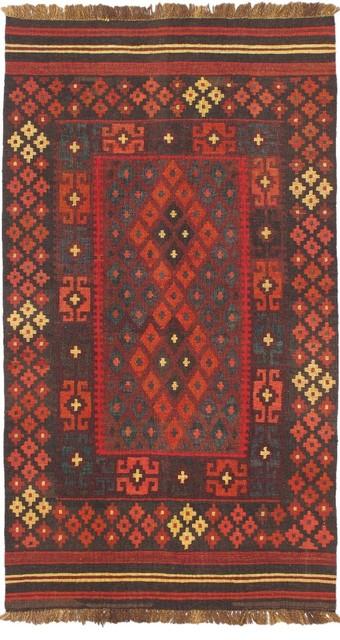 "Flat-weave Kashkoli Kilim Red Wool Kilim 3'7"" x 6'4"" traditional-rugs"